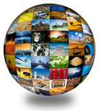 Abstract photography globe. Abstract globe with many vibrant photos stock images