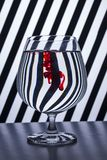 Black & white striped red drop royalty free stock photo