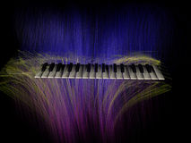 Abstract Piano Keyboard. Abstract isolated keys of a piano keyboard emitting vibrant and dreamy strands and streaks Royalty Free Stock Photography