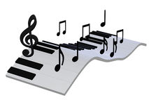 Abstract piano keyboard 3d. 3d illustration isolated on the white background Stock Photos