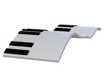 Abstract piano keyboard 3d. 3d illustration isolated on the white background Stock Images