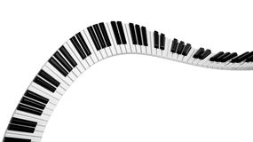 Abstract piano keyboard wave. On white background Stock Images