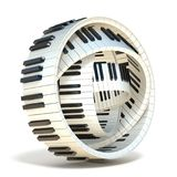 Abstract piano keys 3D. Render illustration isolated on white background Stock Image
