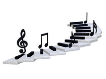 Abstract piano staircase 3d. 3d illustration isolated on the white background Royalty Free Stock Image