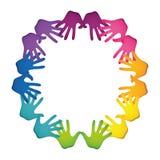 Abstract Pictogram icon. teamwork concept. multicolored vector Stock Photo