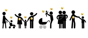 Black people pictograms with emoticons royalty free stock image