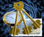 Abstract picture. Hours, envelope with money and three old metal keys on an abstract background Royalty Free Stock Images
