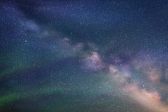 Abstract picture with beautiful starry sky, milky way and Northern lights Royalty Free Stock Photo