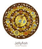 Abstract picture with cartoon jellyfish Royalty Free Stock Photos