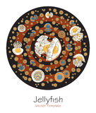 Abstract picture with cartoon jellyfish Royalty Free Stock Image