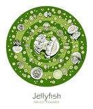 Abstract picture with cartoon jellyfish Royalty Free Stock Photography