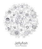 Abstract picture with cartoon jellyfish Royalty Free Stock Photo