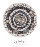Abstract picture with cartoon jellyfish Stock Image