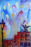 Abstract picture of the Castel Sant Angelo in Rome. Painted by watercolor Stock Image
