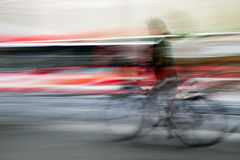 Abstract picture of a cyclist in Stockholm Stock Photography