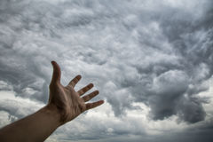 Abstract picture of the dark stormy clouds. Climate and weather management Royalty Free Stock Images