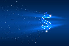 Abstract picture with dollar symbol flying. Illustration Royalty Free Stock Photo