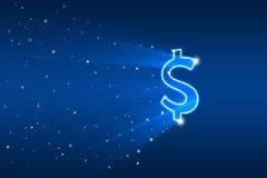 Abstract picture with dollar symbol flying. Illustration Royalty Free Stock Photos