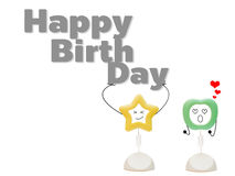 Abstract picture frame star bear the word Happy birth day and apple support to cheer Stock Image