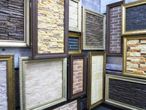Abstract picture frames with stone brick textures Royalty Free Stock Photos