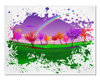 Abstract picture with magic forest autumn defoliation landscape Royalty Free Stock Photo