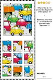 Abstract picture puzzle - parts and the whole - traffic jam. IQ training abstract visual puzzle with cars and trucks on the road: What of the 2 - 10 are not the Stock Photos