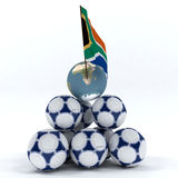 Abstract picture about soccer. Abstract picture about the World Cup in South Africa. Pyramid of soccer balls with flags of South Africa vector illustration