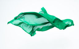 Abstract piece of green fabric flying Royalty Free Stock Image