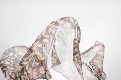 Abstract pieces of fabric flying, studio shot , scarf motion Royalty Free Stock Images