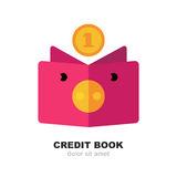 Abstract pig moneybox, book and fall coin. Vector logo design te stock illustration