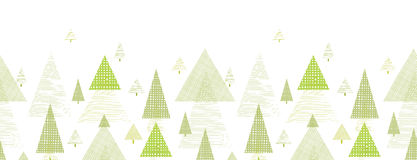 Abstract pine tree forest horizontal seamless. Pattern background with hand drawn elements Stock Illustration