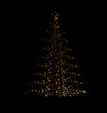 Abstract Pine Tree Made of Golden Confetti Isolated Stock Images