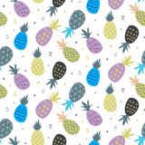 ABSTRACT PINEAPPLE HAND DRAW TEXTURE. SUMMER HOLIDAY FEELING. SEAMLESS VECTOR PATTER. PINEAPPLE CHARACTER. SUMMER SEAMLESS VECTOR PATTERN. ABSTRACT FUNNY Stock Photos