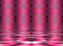 Abstract pink background. A beautiful and artistic, abstract background of  pinkish columns with intricate designs on them and a rippling, watery foreground Royalty Free Stock Image