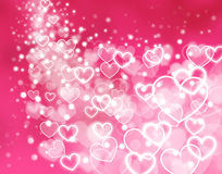 Abstract pink background - glowing hearts Stock Photo
