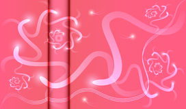 Abstract pink background of glowing spirals. Abstract pink background with vertical fold with luminous spirals and three strips Royalty Free Stock Photo