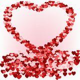 Illustration of a heart of little hearts. Abstract pink background of little hearts in the shape of heart royalty free illustration