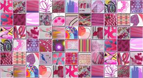 Abstract Pink Background made with Small illustrations. Collage Royalty Free Stock Photos