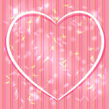 Abstract pink background with stripes, light glare. Heart. Valen Royalty Free Stock Photo