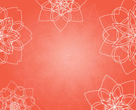 Abstract pink background with tribal floral mandalas Royalty Free Stock Photos