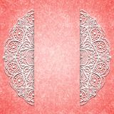 Abstract pink background with white lacy mandala pattern. Royalty Free Stock Photos
