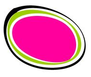 Abstract Pink Black Oval Logo. A clip art logo illustration of an abstract irregular shaped oval logo or background with dotted edges in black, pink and green Stock Photos