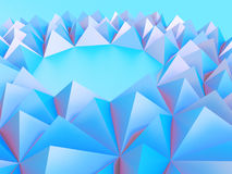 Abstract pink blue triangle mosaic background. 3d render illustration Stock Photo