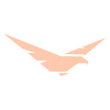 abstract pink color eagle,hawk of falcon silhouette logo. Dangerous hunting bird logotype. Wings icon. Air element. Flight sign. Airlines symbol. Vector bird Royalty Free Stock Image