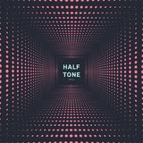 Abstract pink color halftone room perspective dark background and texture. Vector illustration vector illustration