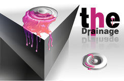 Abstract pink drain fluid substance with text Royalty Free Stock Images