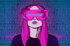 Virtual reality and innovation concept. Abstract pink drawing of young woman with futuristic glasses on digital binary code background. Virtual reality and stock illustration