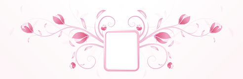 Abstract pink floral background with frame Royalty Free Stock Image