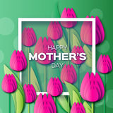 Abstract pink Floral Greeting card - Happy Mothers Day - With Bunch of Spring Tulips. stock illustration