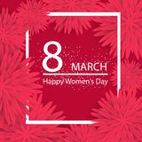 Abstract Pink Floral Greeting card - International Happy Women`s. Day - 8 March holiday background with paper cut Frame Flowers Stock Photography